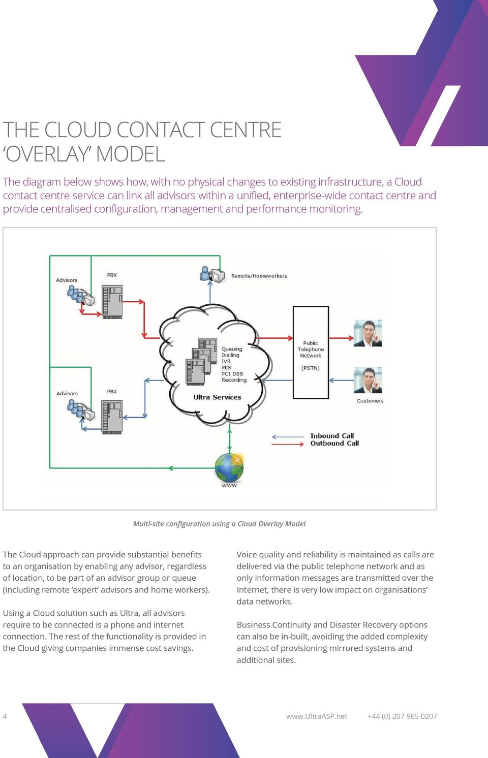 Multi-site configuration using a Cloud Overlay Model The Cloud approach can provide substantial benefits to an organisation by enabling any advisor, regardless of location, to be part of an advisor