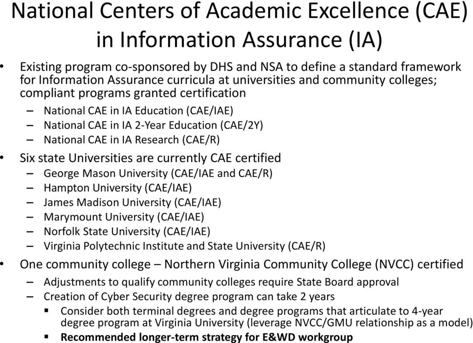 Six state Universities are currently CAE certified George Mason University (CAE/IAE and CAE/R) Hampton University (CAE/IAE) James Madison University (CAE/IAE) Marymount University (CAE/IAE) Norfolk
