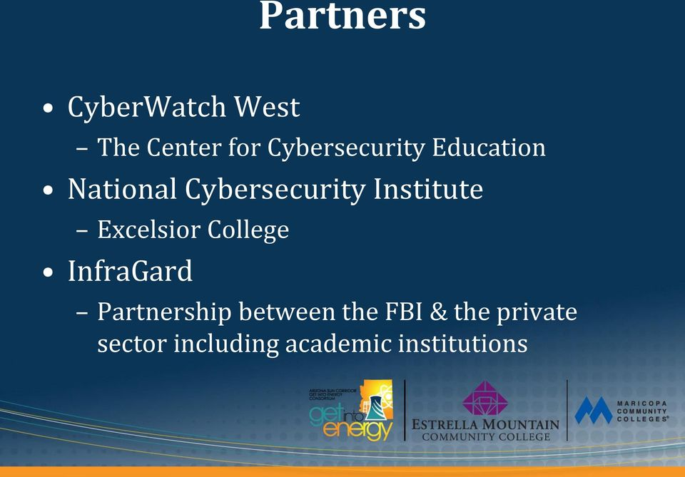 Institute Excelsior College InfraGard Partnership