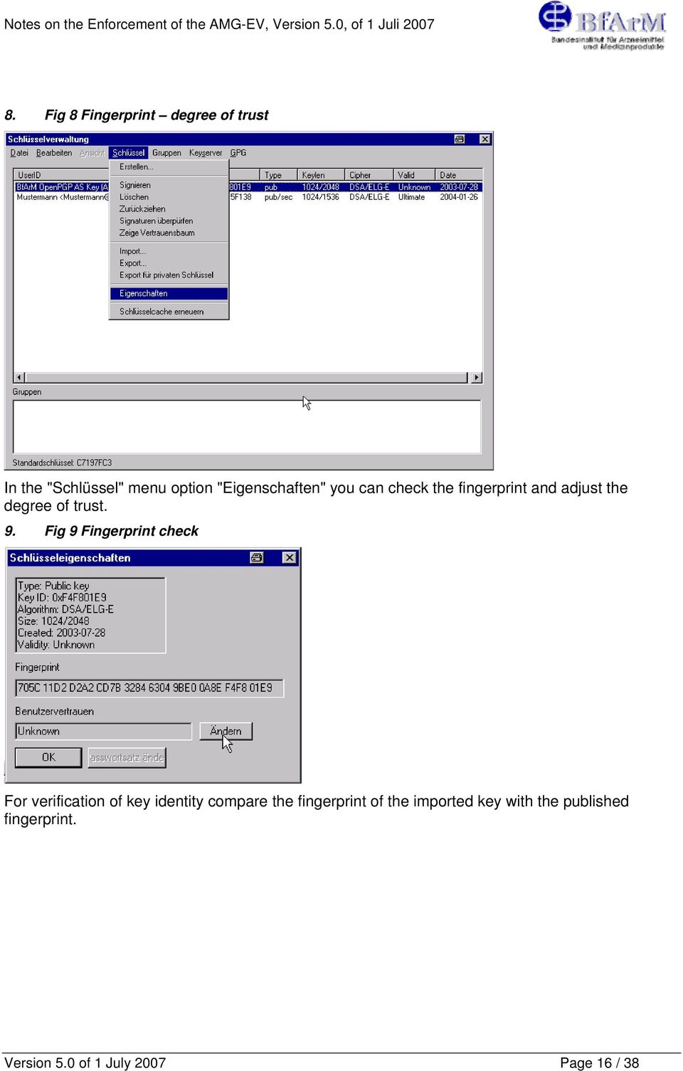 Fig 9 Fingerprint check For verification of key identity compare the fingerprint