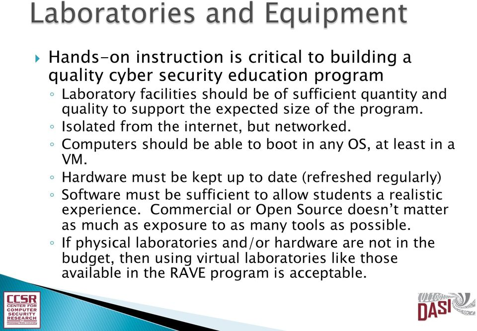 Hardware must be kept up to date (refreshed regularly) Software must be sufficient to allow students a realistic experience.