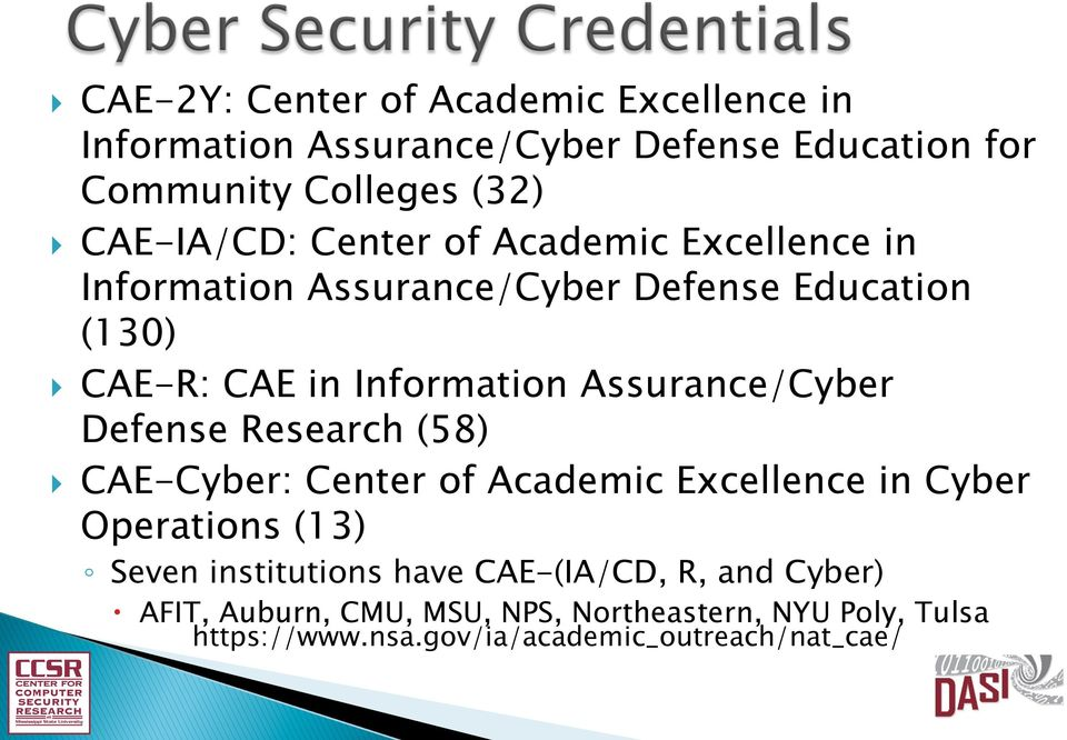 Assurance/Cyber Defense Research (58) } CAE-Cyber: Center of Academic Excellence in Cyber Operations (13) Seven institutions