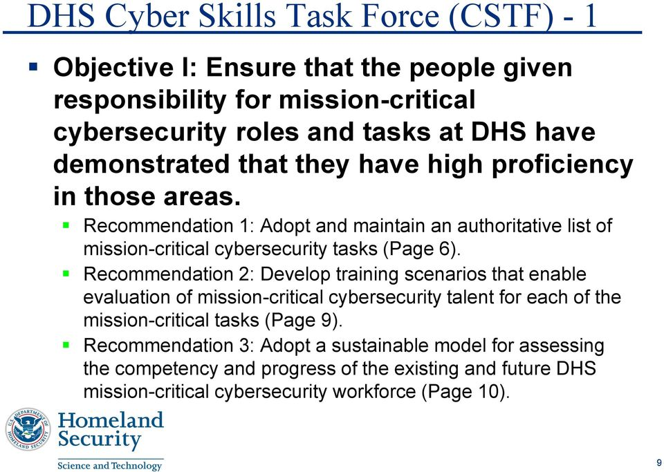 Recommendation 1: Adopt and maintain an authoritative list of mission-critical cybersecurity tasks (Page 6).