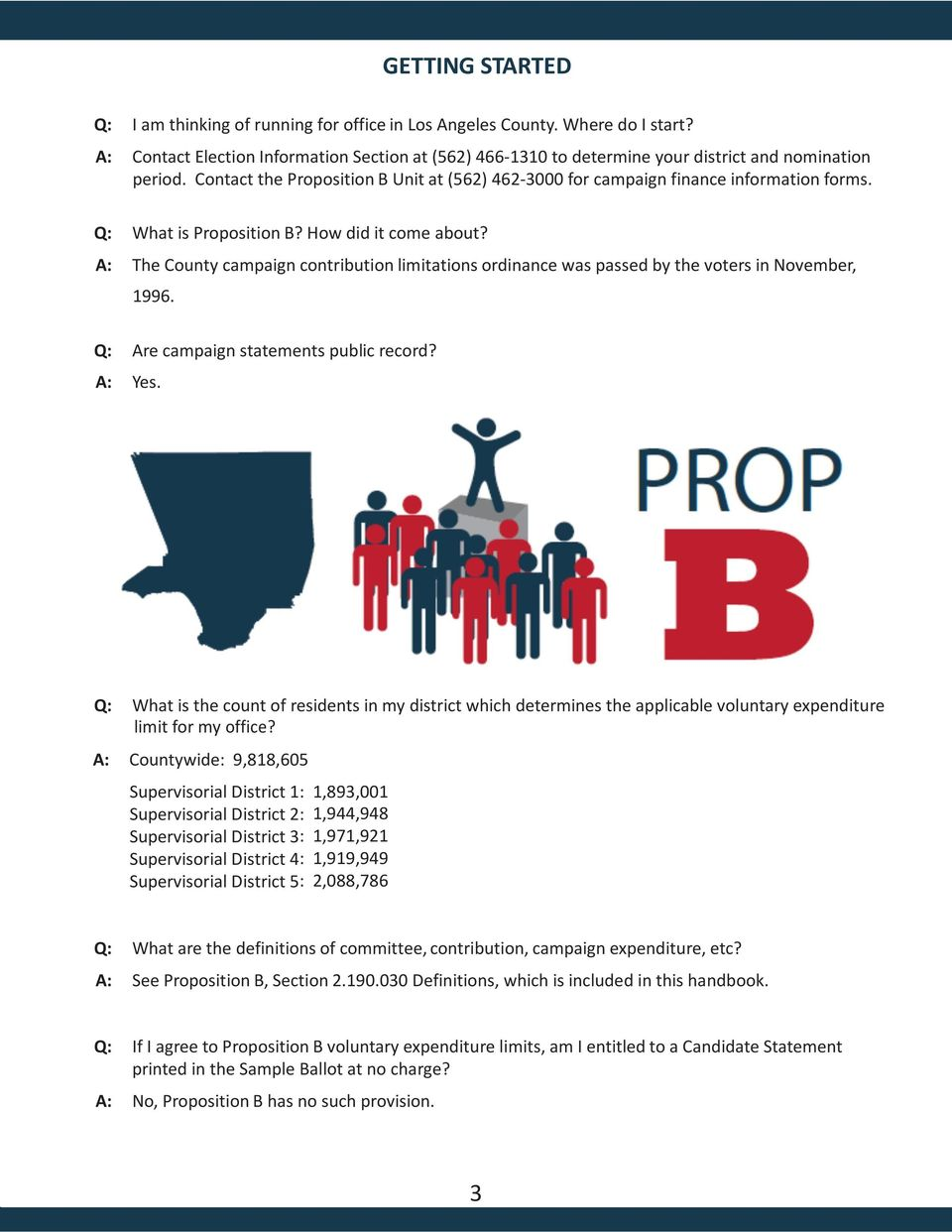 Q: What is Proposition B? How did it come about? A: The County campaign contribution limitations ordinance was passed by the voters in November, 1996. Q: Are campaign statements public record? A: Yes.