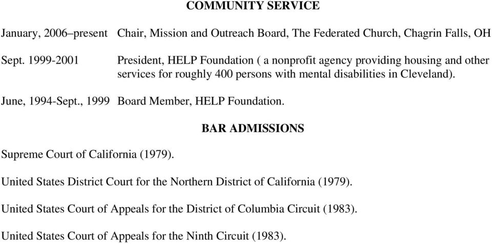 Cleveland). June, 1994-Sept., 1999 Board Member, HELP Foundation. BAR ADMISSIONS Supreme Court of California (1979).