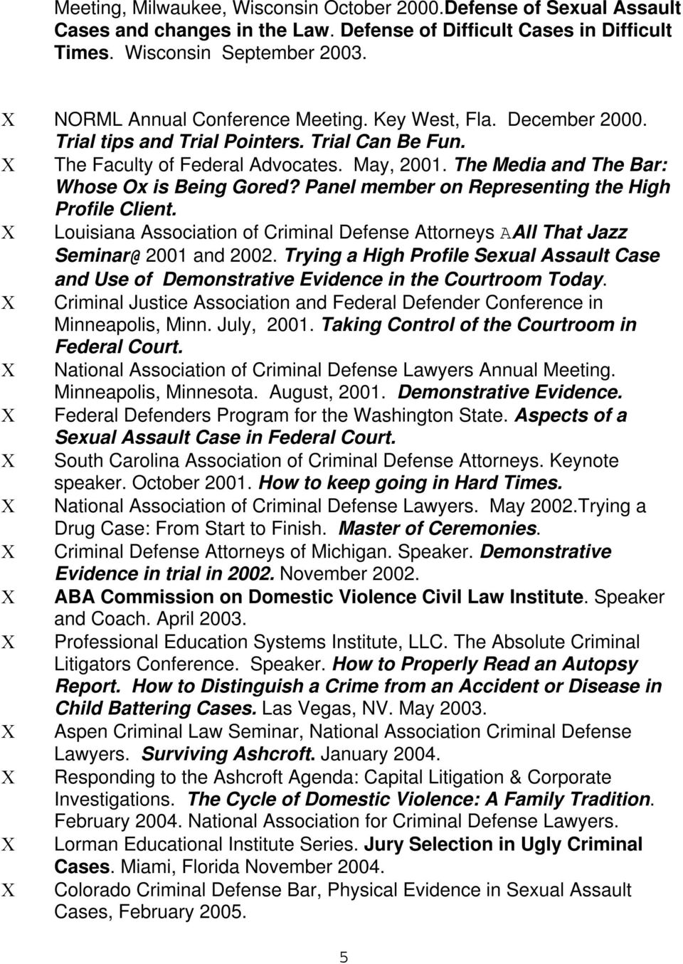 The Media and The Bar: Whose Ox is Being Gored? Panel member on Representing the High Profile Client. Louisiana Association of Criminal Defense Attorneys AAll That Jazz Seminar@ 2001 and 2002.