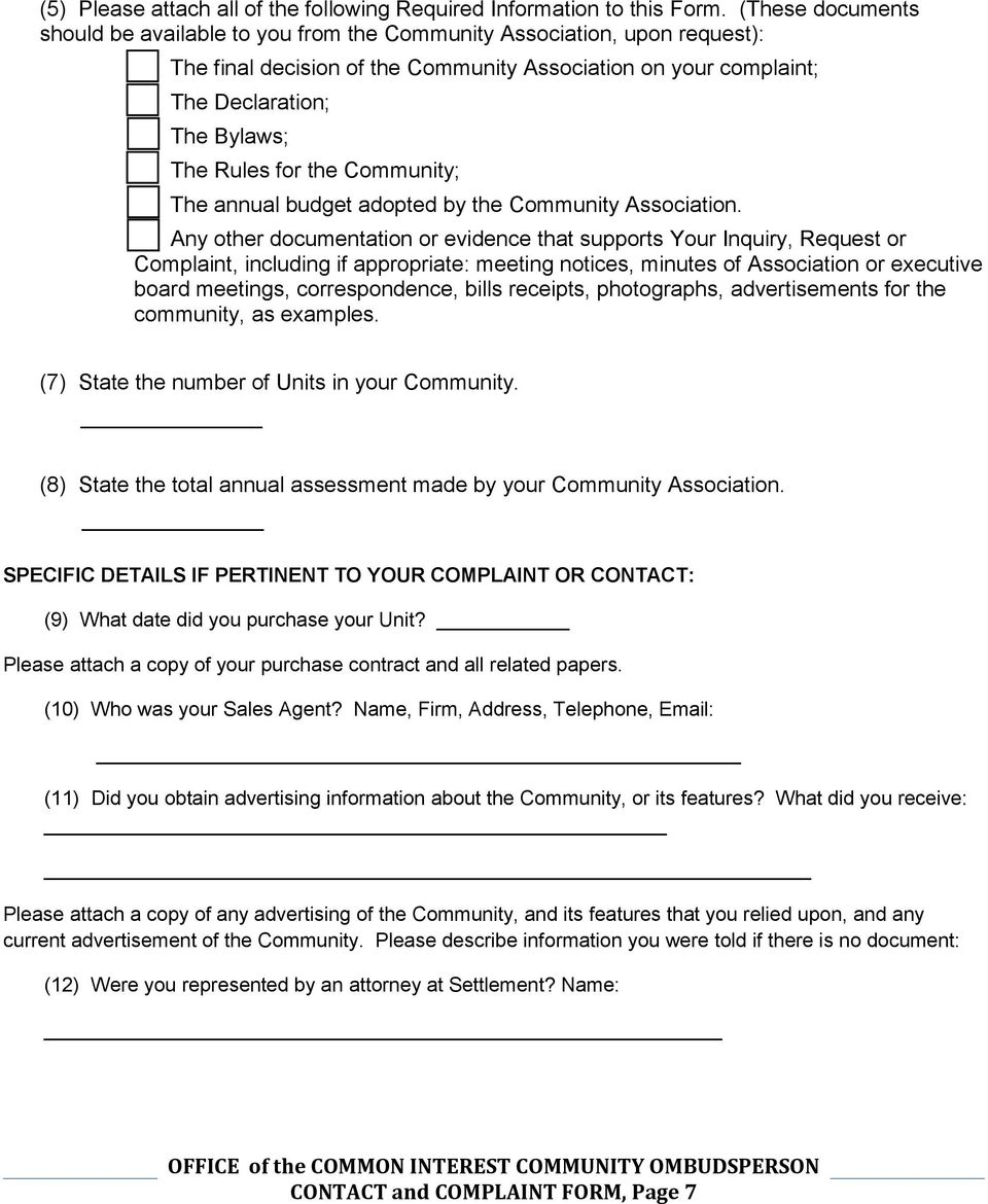 [ ] The Rules for the Community; [ ] The annual budget adopted by the Community Association.