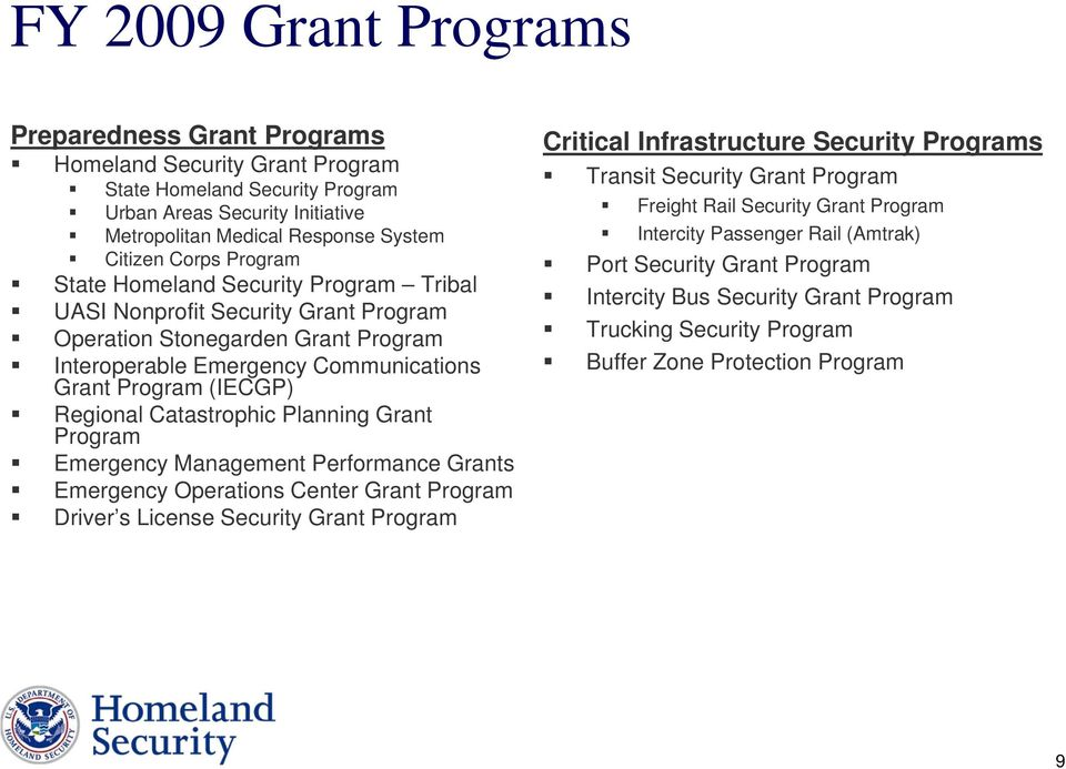 Catastrophic Planning Grant Program Emergency Management Performance Grants Emergency Operations Center Grant Program Driver s License Security Grant Program Critical Infrastructure Security Programs