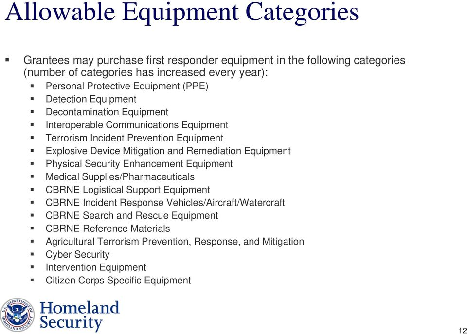 Remediation Equipment Physical Security Enhancement Equipment Medical Supplies/Pharmaceuticals CBRNE Logistical Support Equipment CBRNE Incident Response