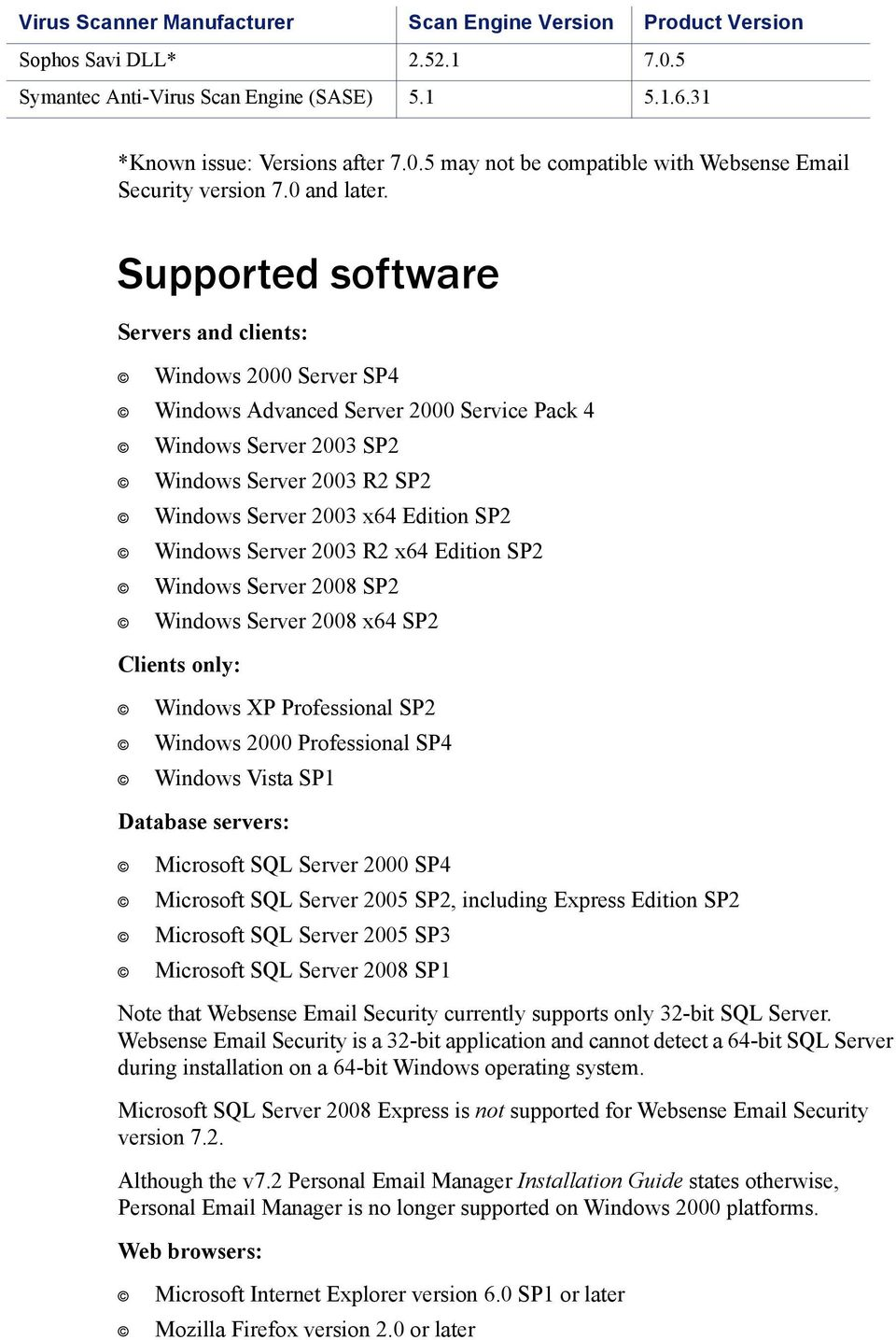 Supported software Servers and clients: Windows 2000 Server SP4 Windows Advanced Server 2000 Service Pack 4 Windows Server 2003 SP2 Windows Server 2003 R2 SP2 Windows Server 2003 x64 Edition SP2