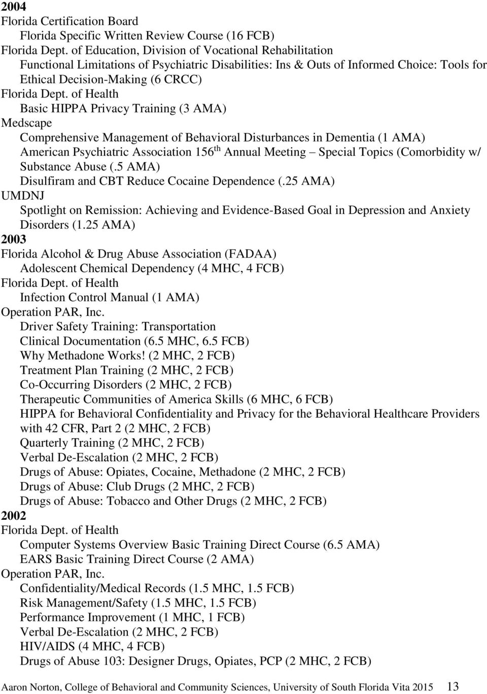 of Health Basic HIPPA Privacy Training (3 AMA) Medscape Comprehensive Management of Behavioral Disturbances in Dementia (1 AMA) American Psychiatric Association 156 th Annual Meeting Special Topics