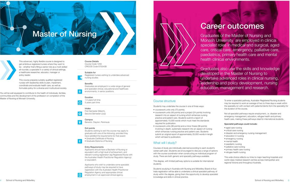 This course prepares suitably qualified registered nurses with leadership skills to plan, implement, coordinate and evaluate health care, as well as formulate policy for a diverse and multicultural