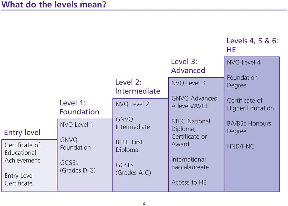GNVQ Foundation GCSEs (Grades D-G) Level 2: Intermediate NVQ Level 2 GNVQ Intermediate BTEC First Diploma GCSEs (Grades A-C)