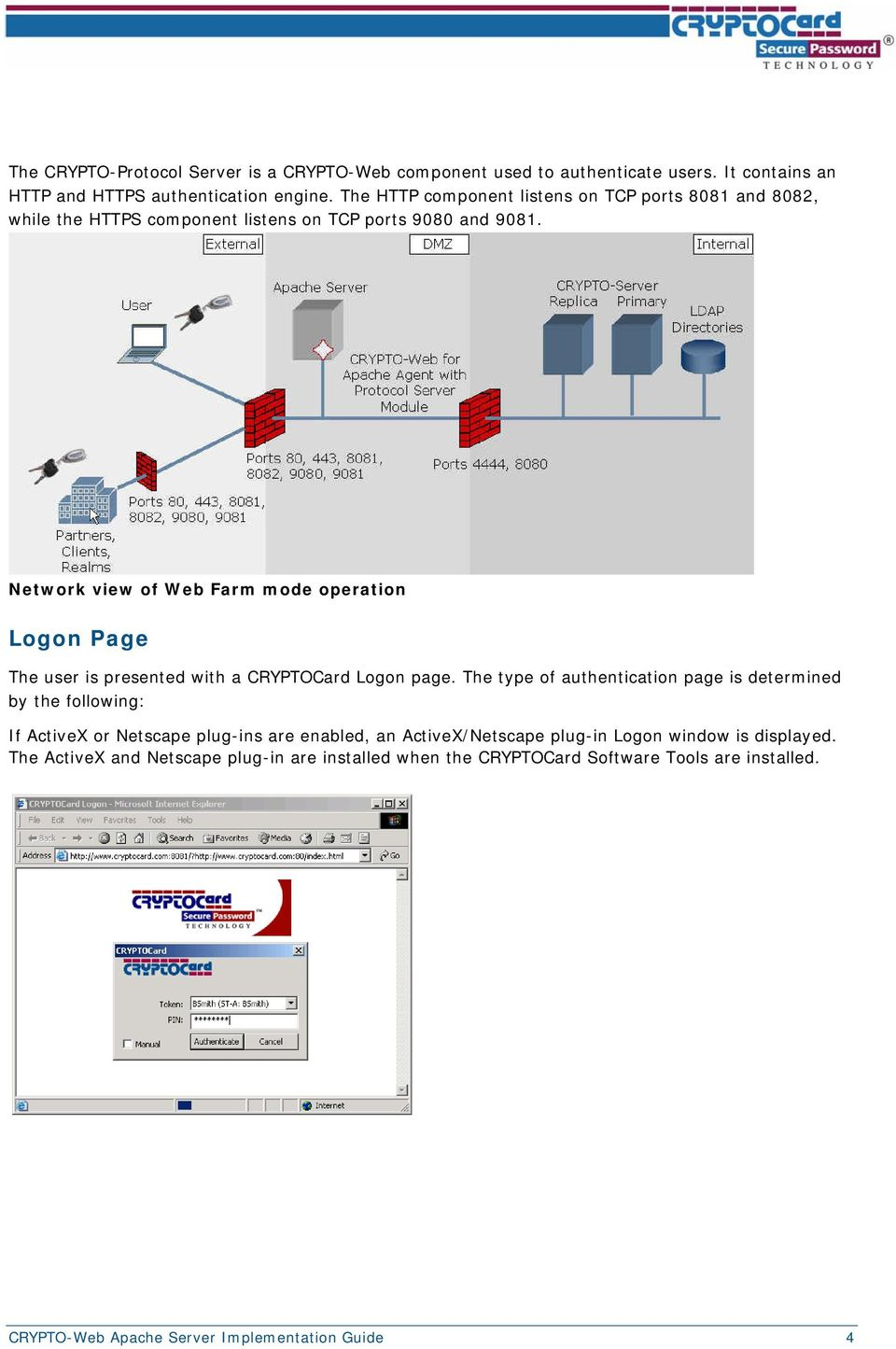 Network view of Web Farm mode operation Logon Page The user is presented with a CRYPTOCard Logon page.