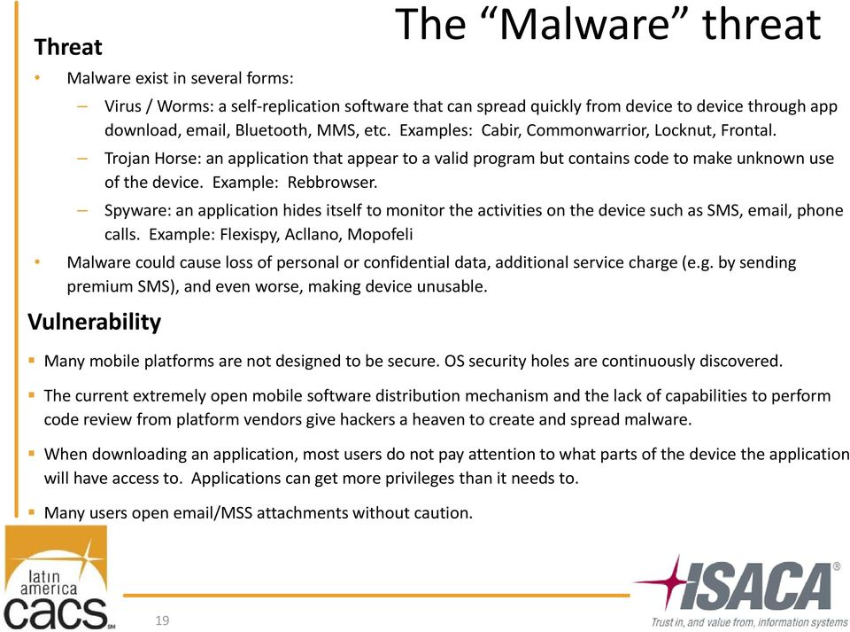 Spyware: an application hides itself to monitor the activities on the device such as SMS, email, phone calls.