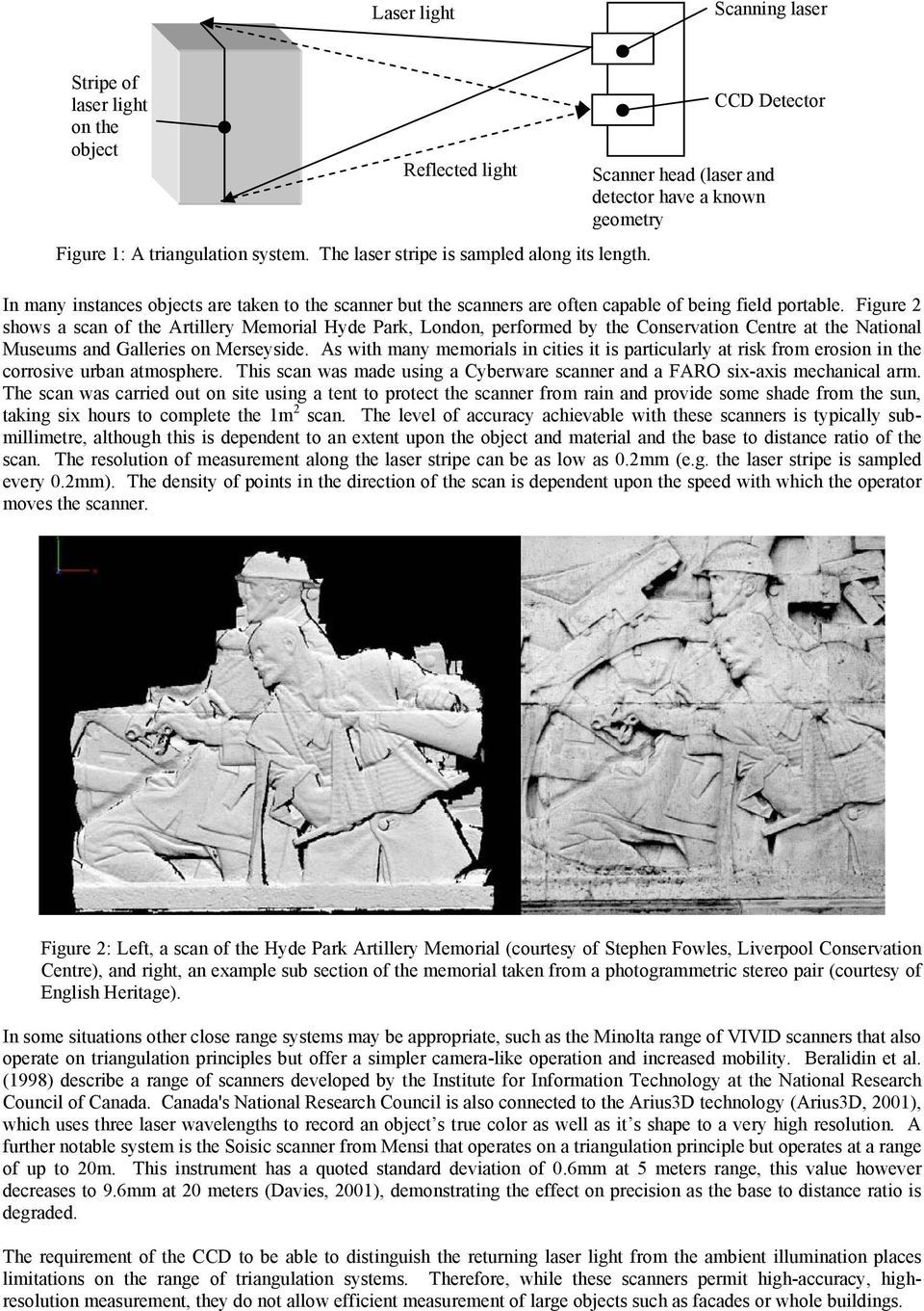 Figure 2 shows a scan of the Artillery Memorial Hyde Park, London, performed by the Conservation Centre at the National Museums and Galleries on Merseyside.