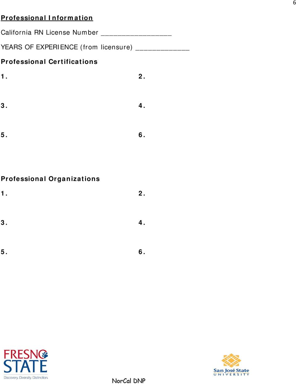 licensure) Professional Certifications 1. 2.