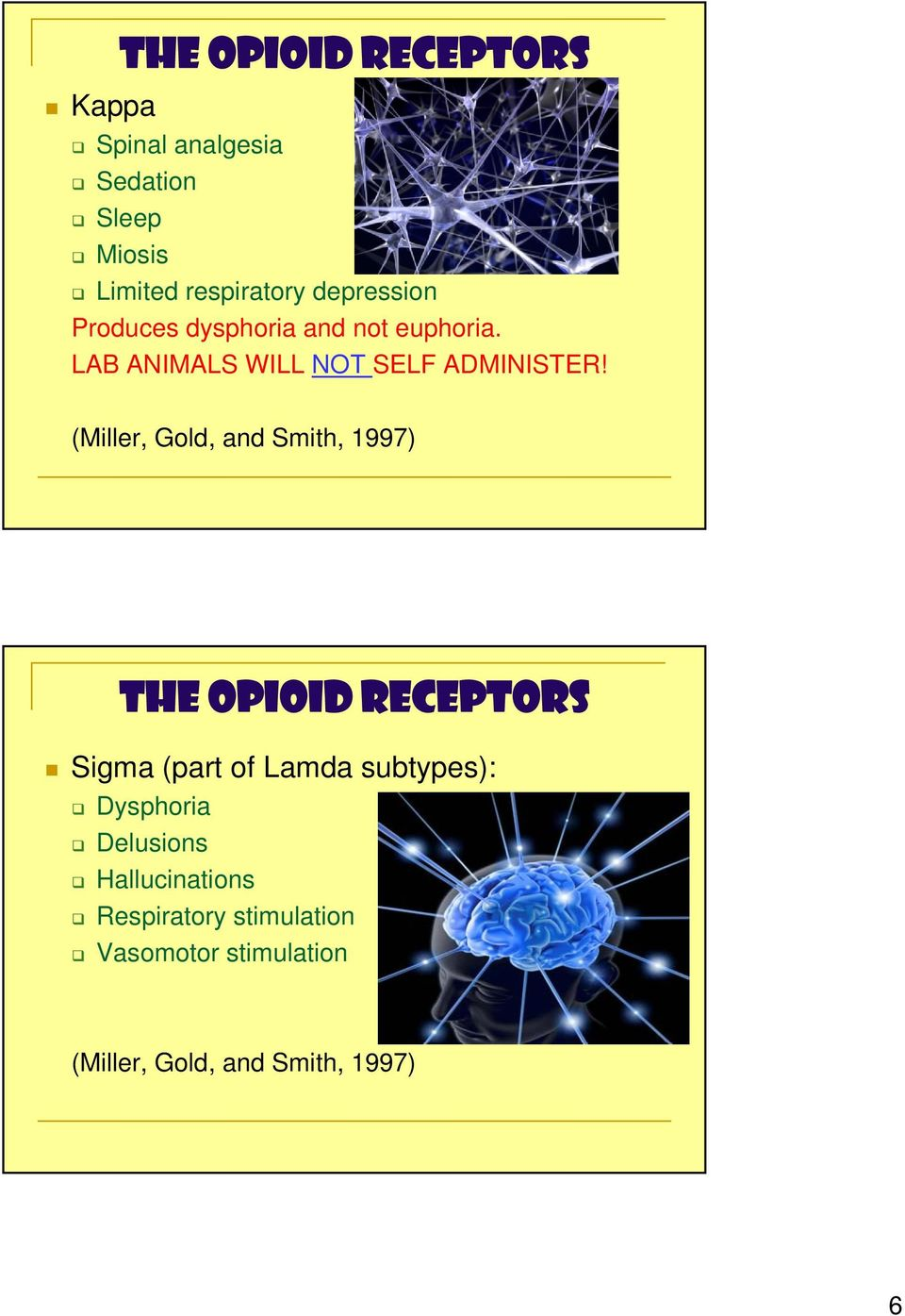 (Miller, Gold, and Smith, 1997) The Opioid REceptors Sigma (part of Lamda subtypes):
