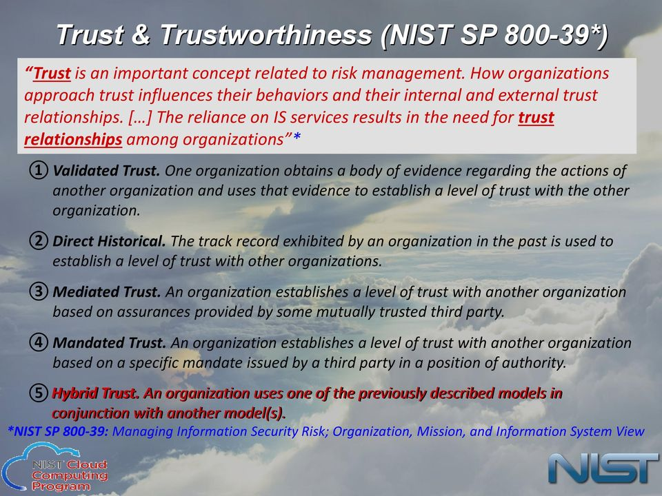 [ ] The reliance on IS services results in the need for trust relationships among organizations * 1 Validated Trust.