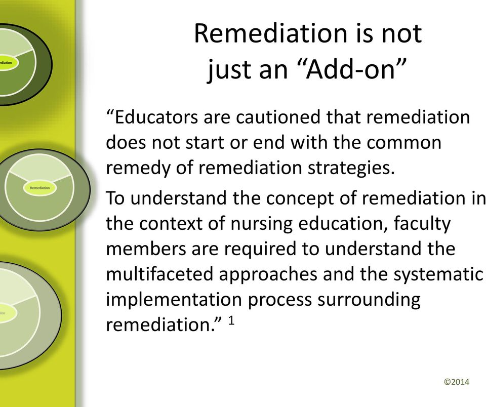To understand the concept of remediat in the context of nursing educat, faculty