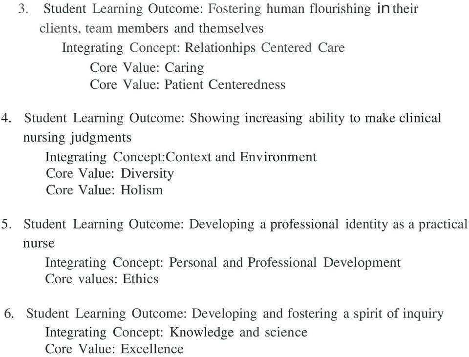 Student Learning Outcome: Showing increasing ability to make clinical nursing judgments Integrating Concept:Context and Environment Core Value: Diversity Core Value: