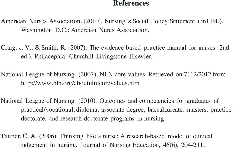 Retrieved on 7112/2012 from http://www.nln.org/aboutnlnlcorevalues.htm National League of Nursing. (2010).