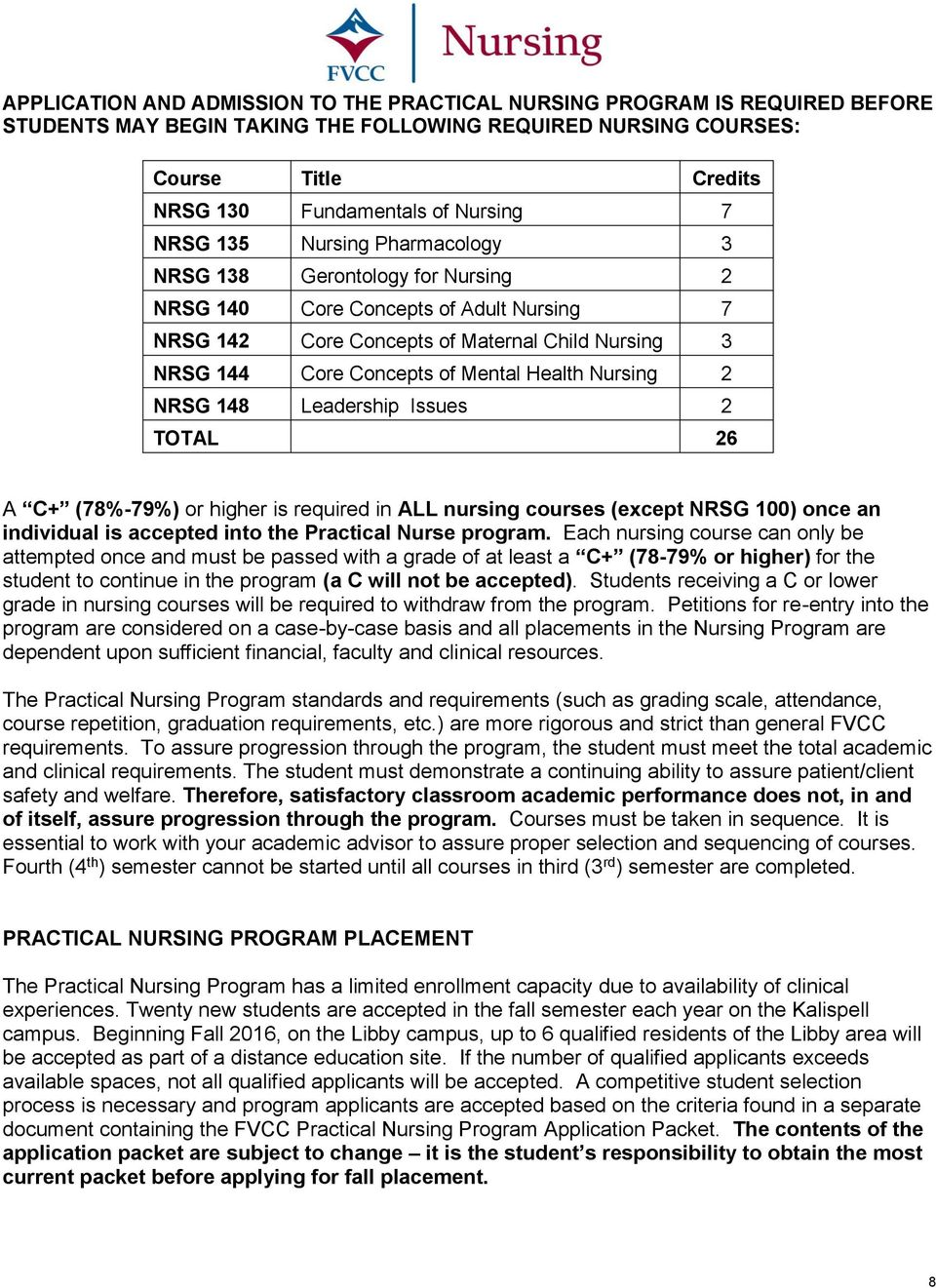 Nursing 2 NRSG 148 Leadership Issues 2 TOTAL 26 A C+ (78%-79%) or higher is required in ALL nursing courses (except NRSG 100) once an individual is accepted into the Practical Nurse program.