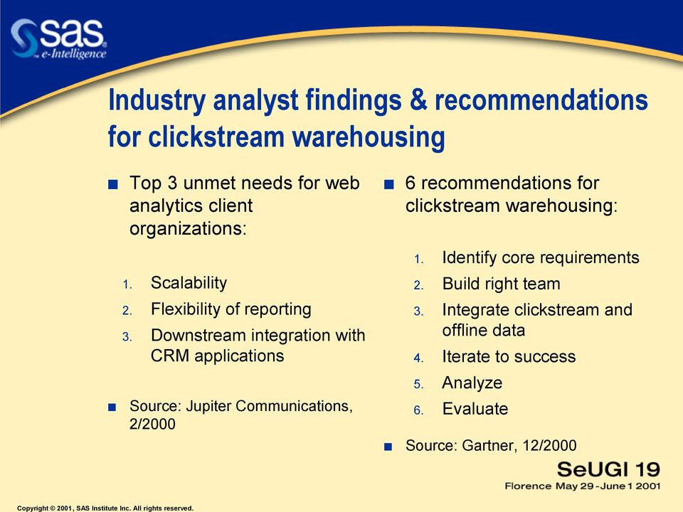Downstream integration with CRM applications Source: Jupiter Communications, 2/2000 6 recommendations for
