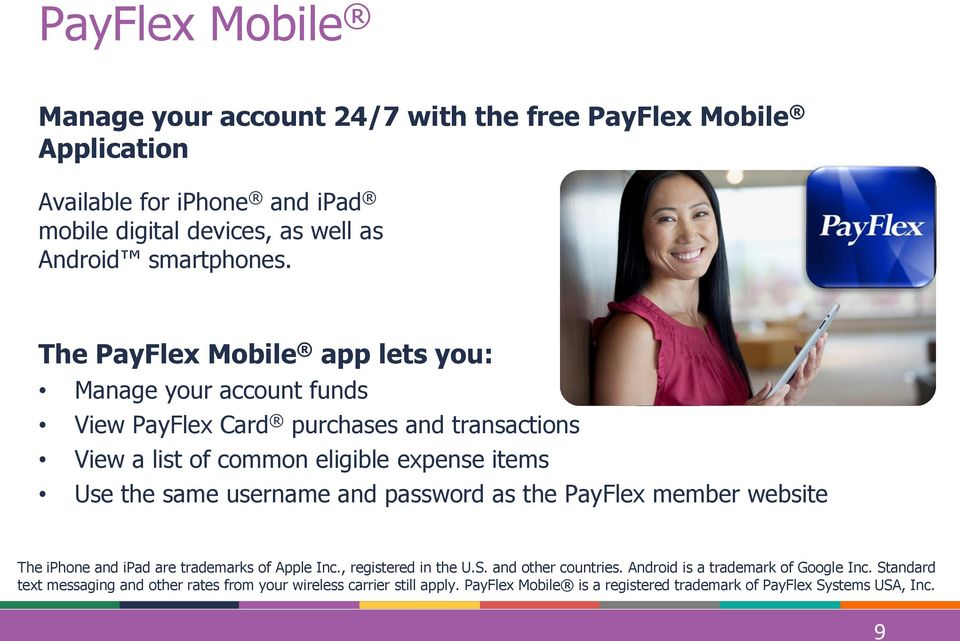 username and password as the PayFlex member website The iphone and ipad are trademarks of Apple Inc., registered in the U.S. and other countries.