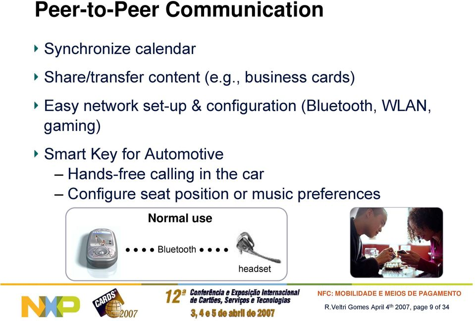Key for Automotive Hands-free calling in the car Configure seat position or music