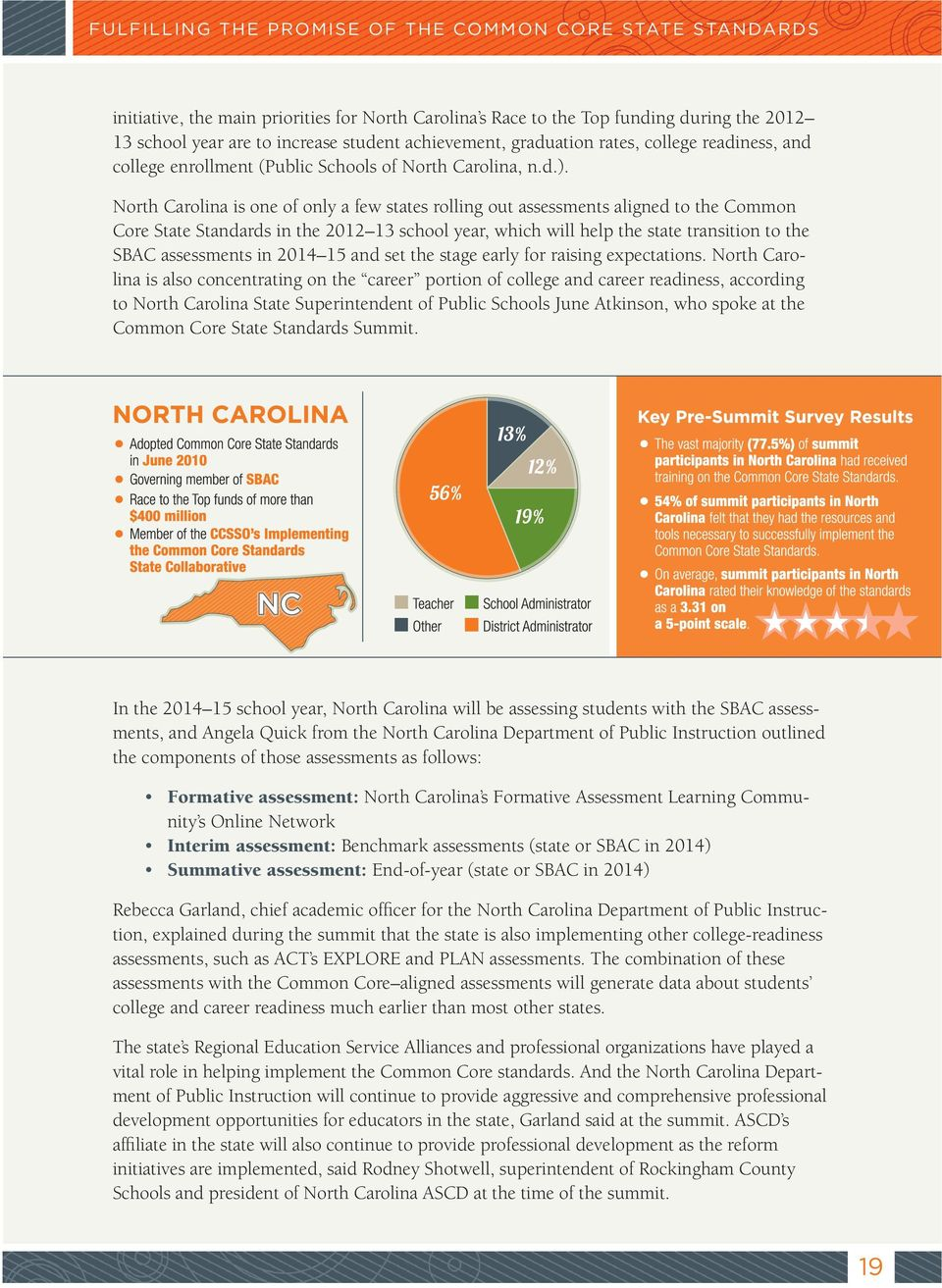 North Carolina is one of only a few states rolling out assessments aligned to the Common Core State Standards in the 2012 13 school year, which will help the state transition to the SBAC assessments