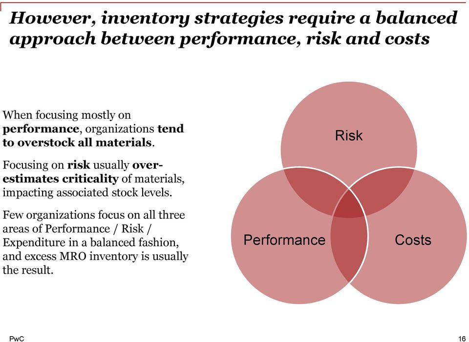 Risk Focusing on risk usually overestimates criticality of materials, impacting associated stock levels.