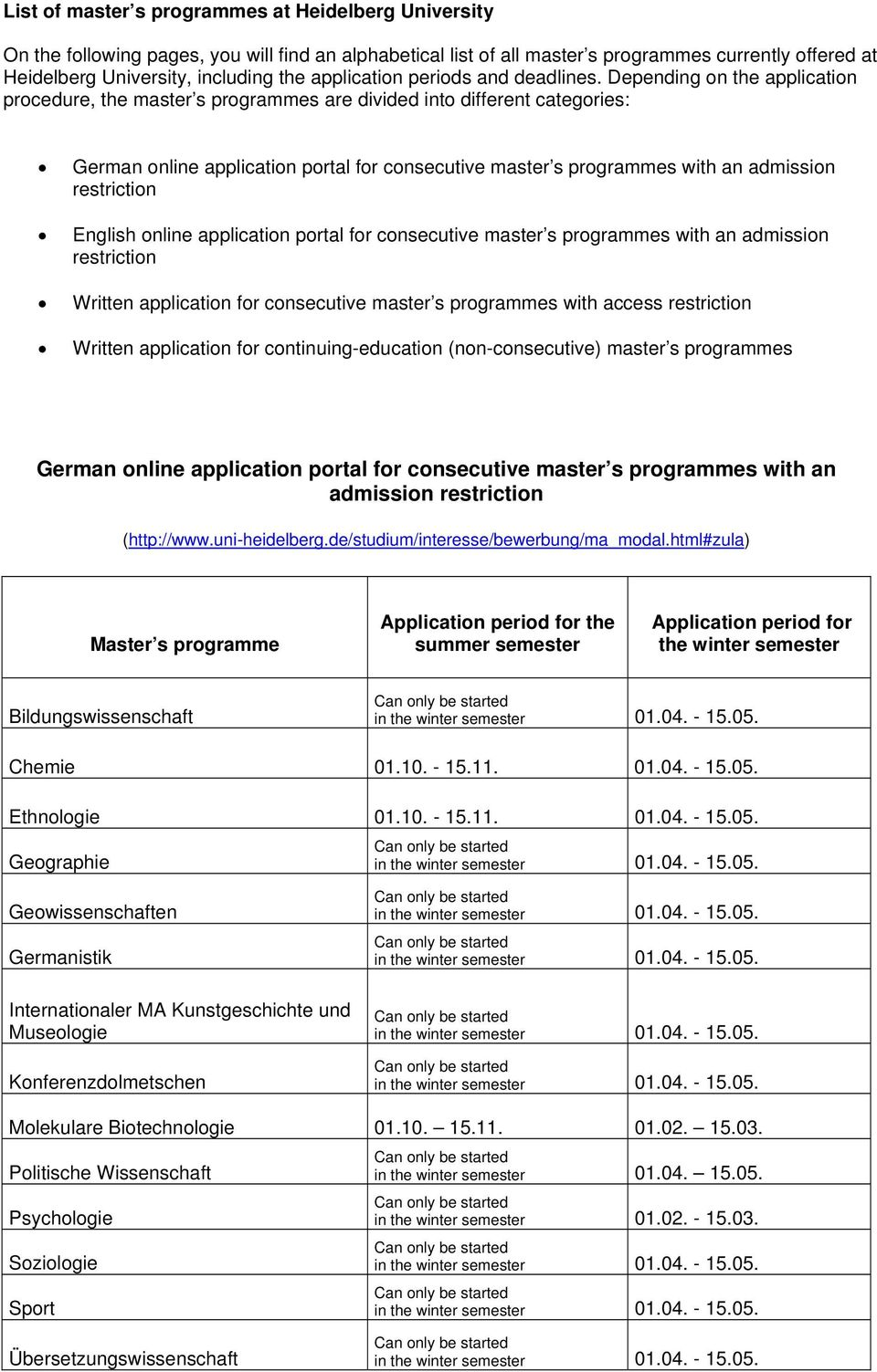 Depending on the application procedure, the master s programmes are divided into different categories: German online application portal for consecutive master s programmes with an admission