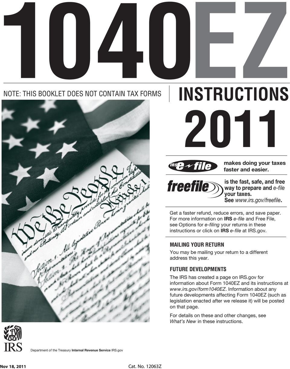 1040EZ INSTRUCTIONS IRS NOTE: THIS BOOKLET DOES NOT CONTAIN TAX ...