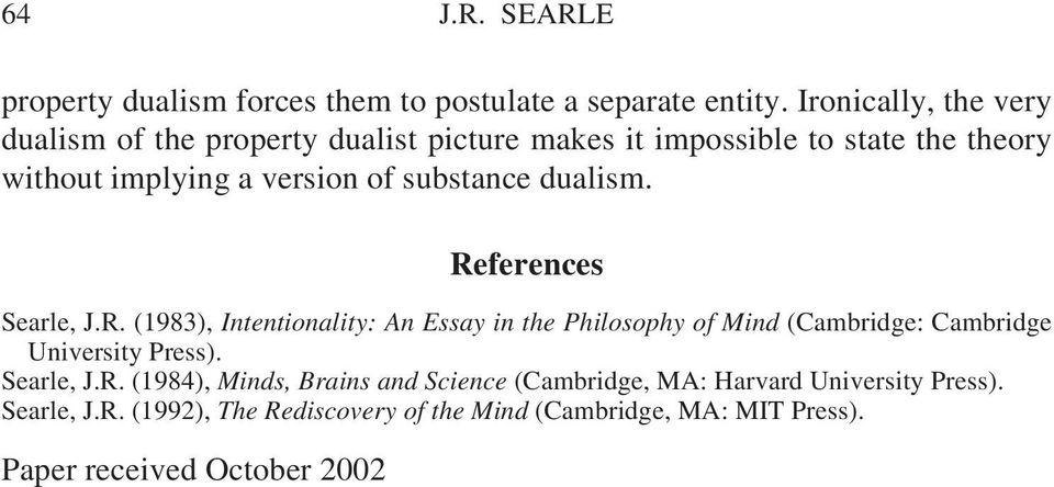 substance dualism. References Searle, J.R. (1983), Intentionality: An Essay in the Philosophy of Mind (Cambridge: Cambridge University Press).