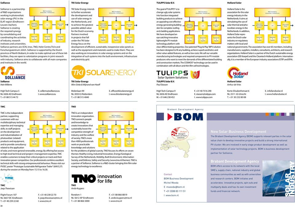 Materials RD Consultancy Solliance partners are: ECN, imec, TNO, Holst Centre,TU/e and Forschungszentrum Jülich. Solliance is supported by the Dutch province of North Brabant,.
