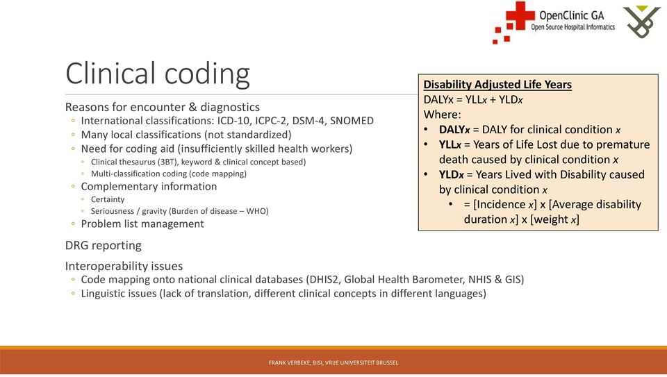 disease WHO) Problem list management DRG reporting Interoperability issues Code mapping onto national clinical databases (DHIS2, Global Health Barometer, NHIS & GIS) Linguistic issues (lack of