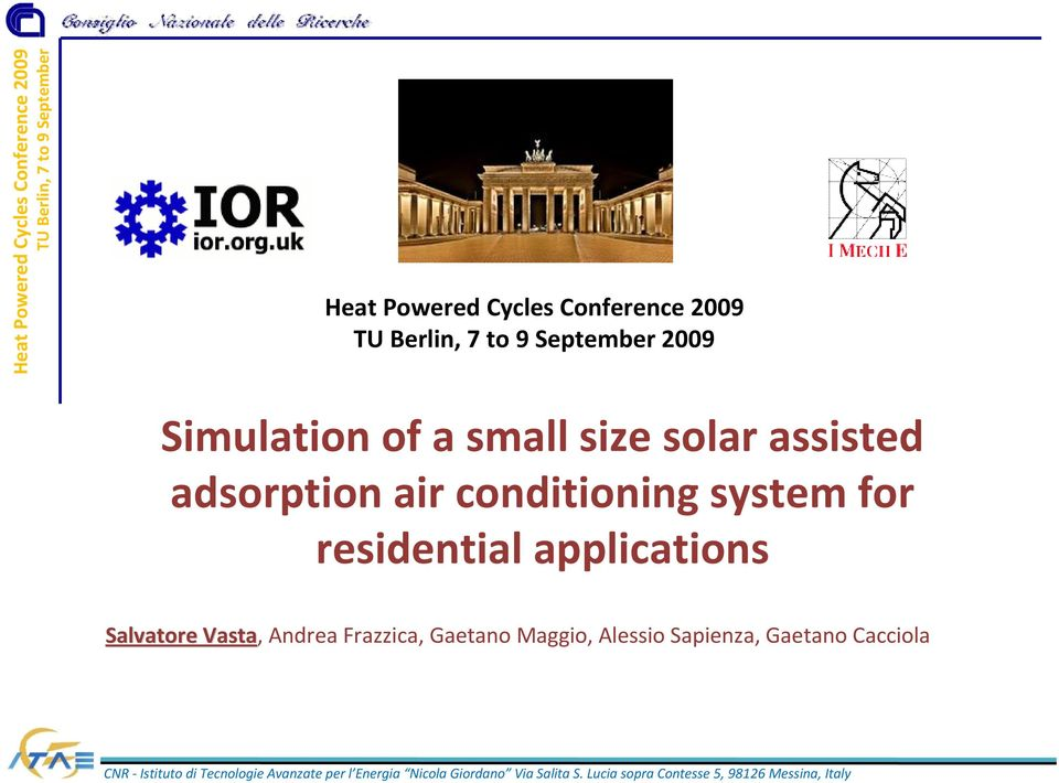 system for residential applications Salvatore Vasta,
