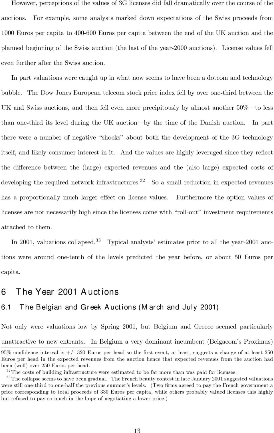 Swiss auction (the last of the year-2000 auctions). License values fell even further after the Swiss auction.