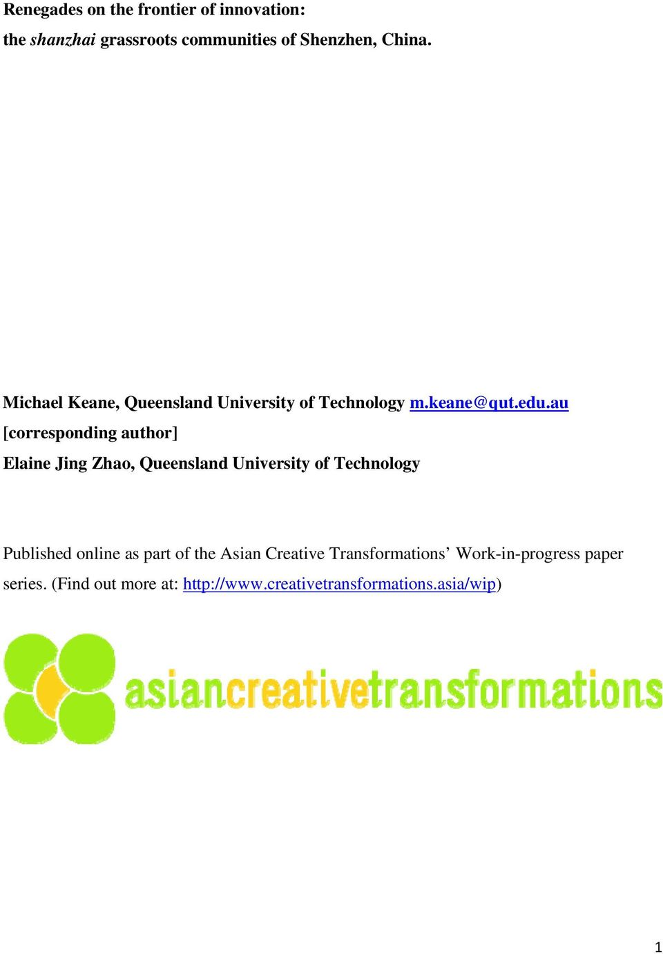au [corresponding author] Elaine Jing Zhao, Queensland University of Technology Published online as