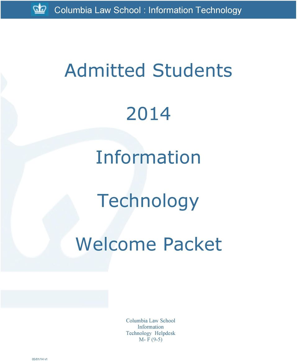 Technology Welcome Packet Columbia Law