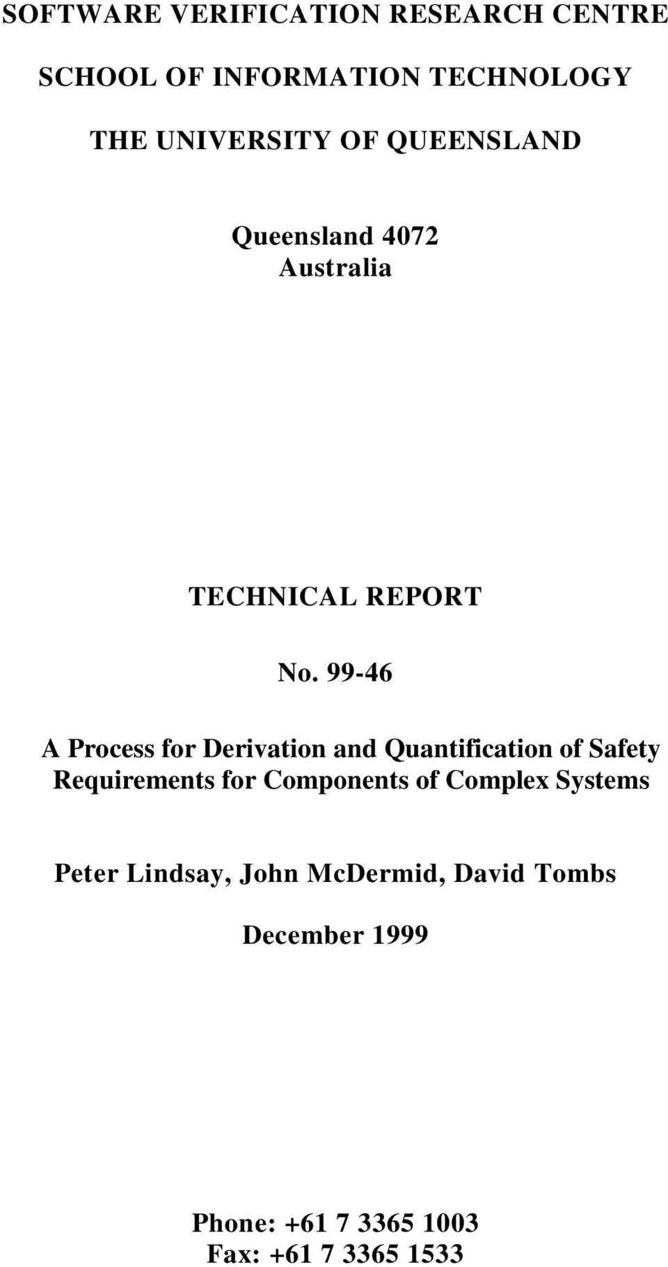 99-46 A Process for Derivation and Quantification of Safety Requirements for Components