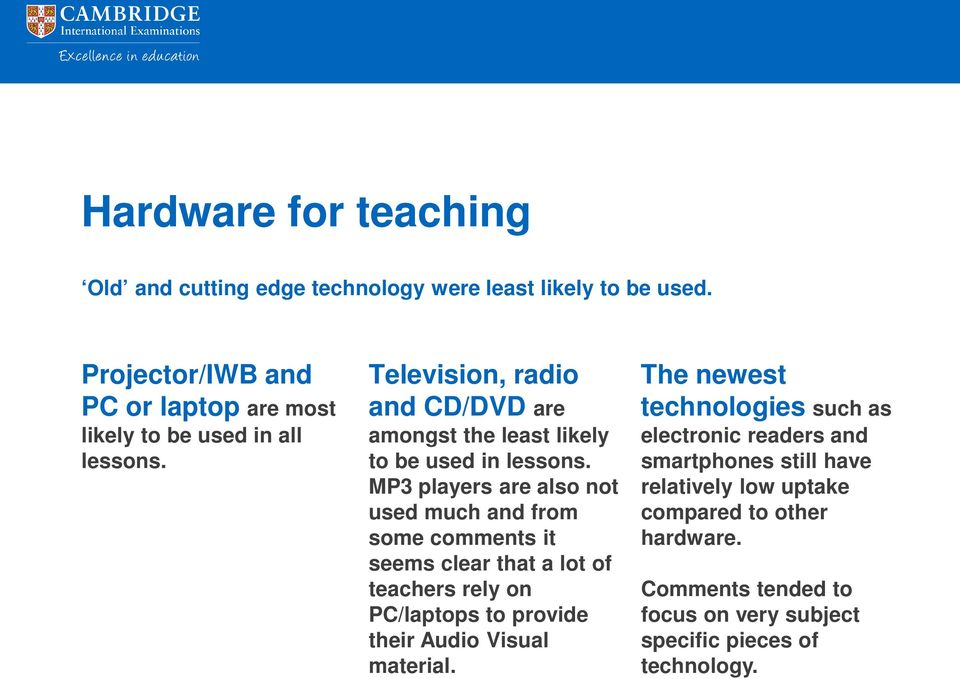 Television, radio and CD/DVD are amongst the least likely to be used in lessons.