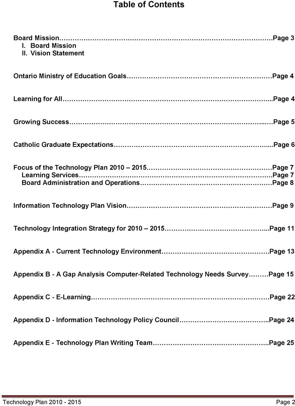 Page 7 Board Administration and Operations Page 8 Information Technology Plan Vision Page 9 Technology Integration Strategy for 2010 2015.