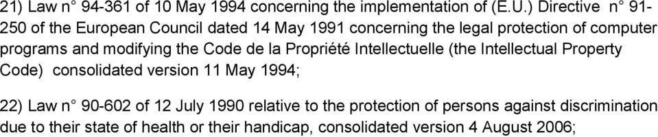 modifying the Code de la Propriété Intellectuelle (the Intellectual Property Code) consolidated version 11 May 1994; 22)