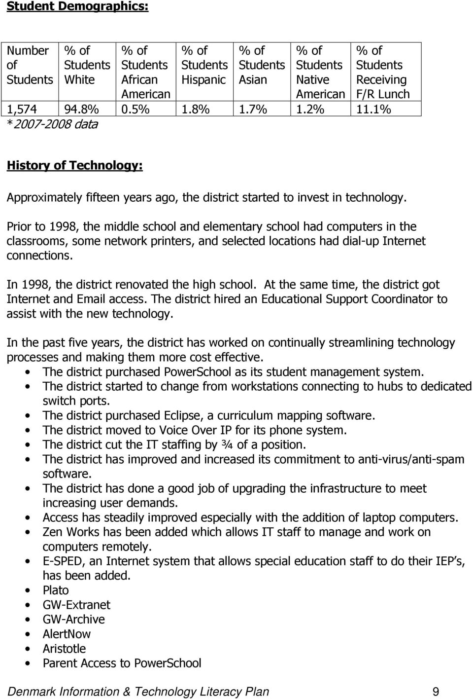 Prior to 1998, the middle school and elementary school had computers in the classrooms, some network printers, and selected locations had dial-up Internet connections.