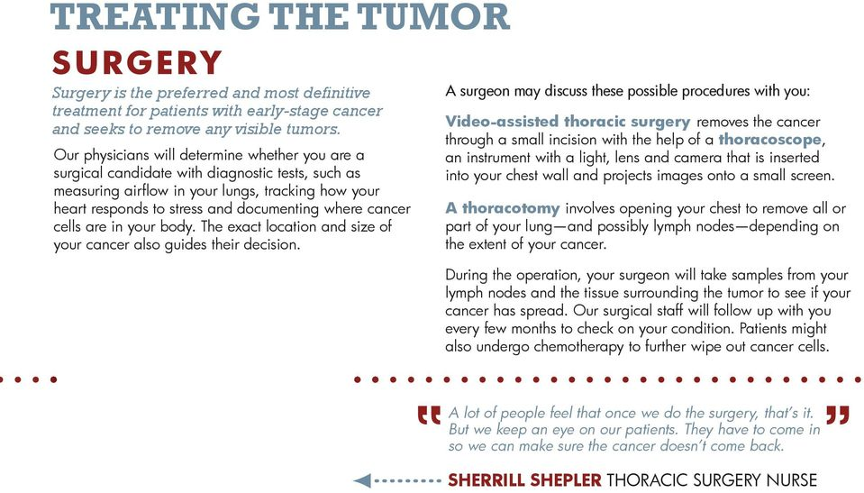 cancer cells are in your body. The exact location and size of your cancer also guides their decision.