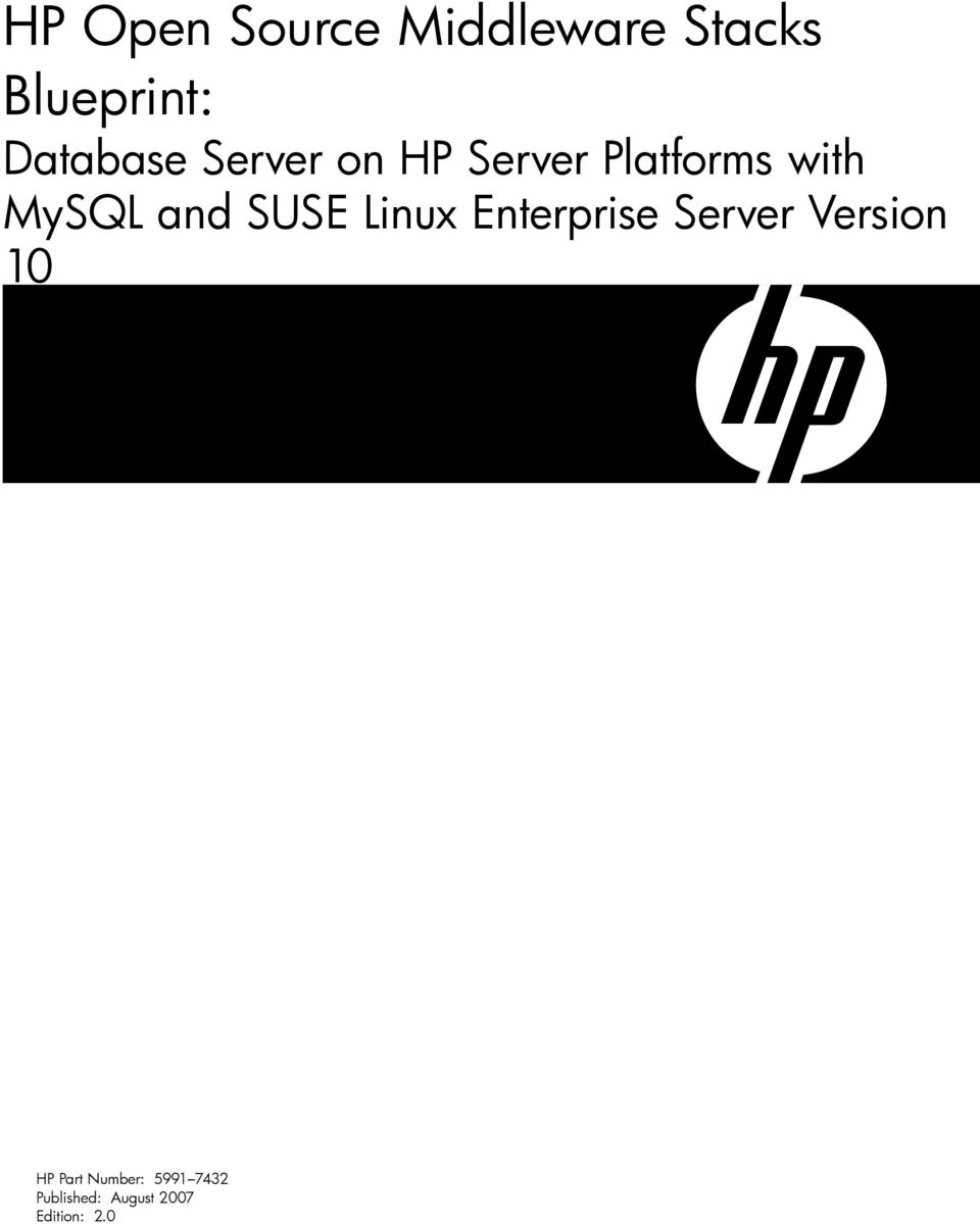 and SUSE Linux Enterprise Server Version 10 HP