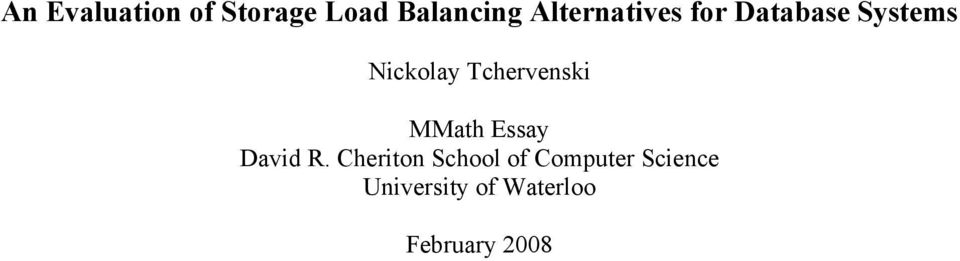 Tchervenski MMath Essay David R.