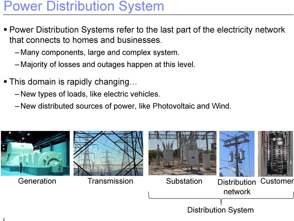 Many components, large and complex system. Majority of losses and outages happen at this level.